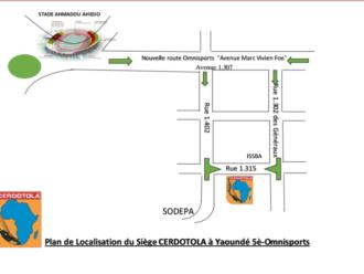 Plan de localisation du siège du CERDOTOLA, à Yaoundé au Cameroun